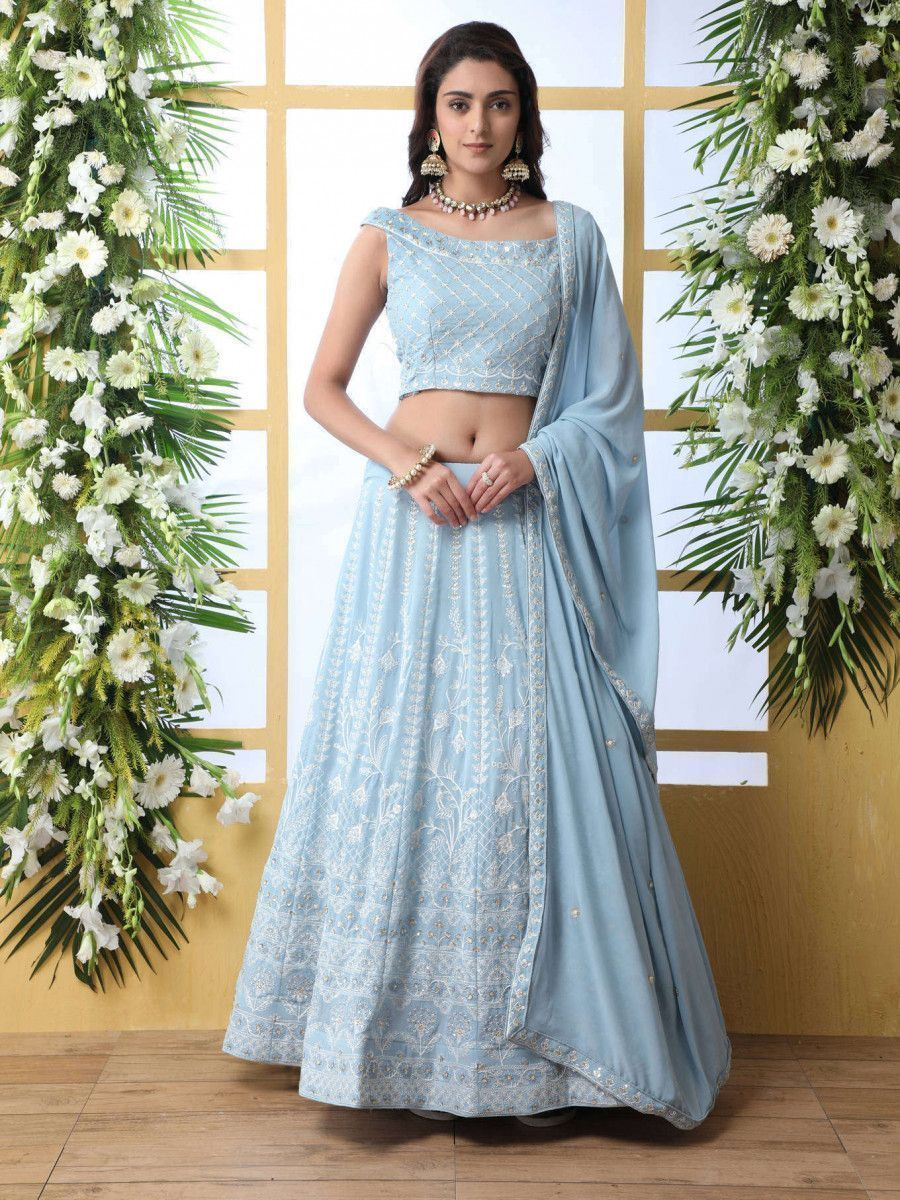 Sky Blue Thread lucknowi Work Georgette Party Wear Lehenga Choli