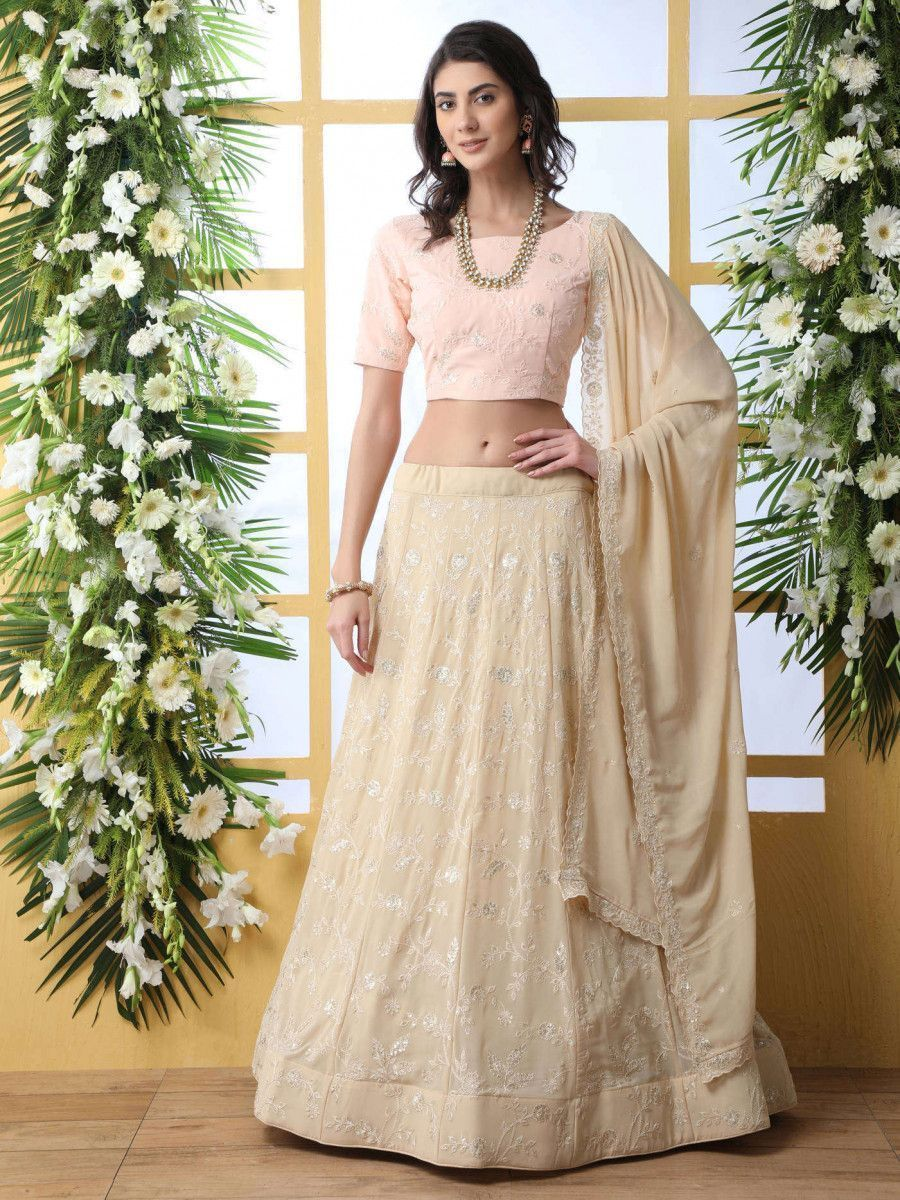 Beige Thread lucknowi Work Georgette Party Wear Lehenga Choli