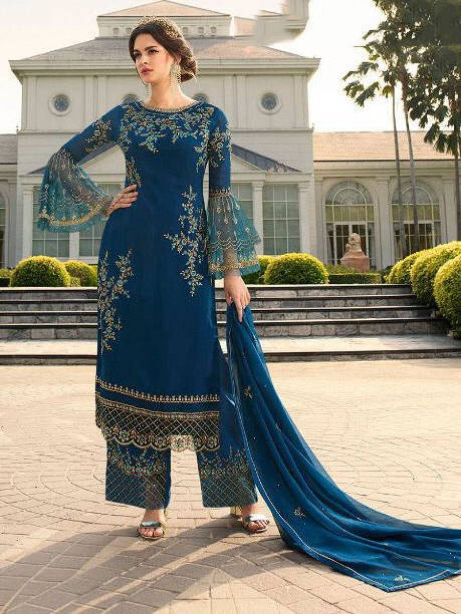 Blue Embroidered Georgette Festive Wear Palazzo Suit