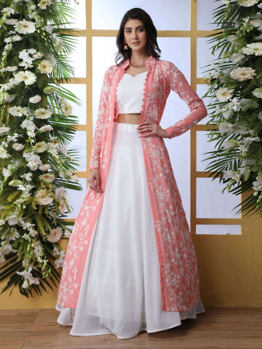 White Georgette Party Wear Indo-Western Lehenga with Thread Embroidered Jacket