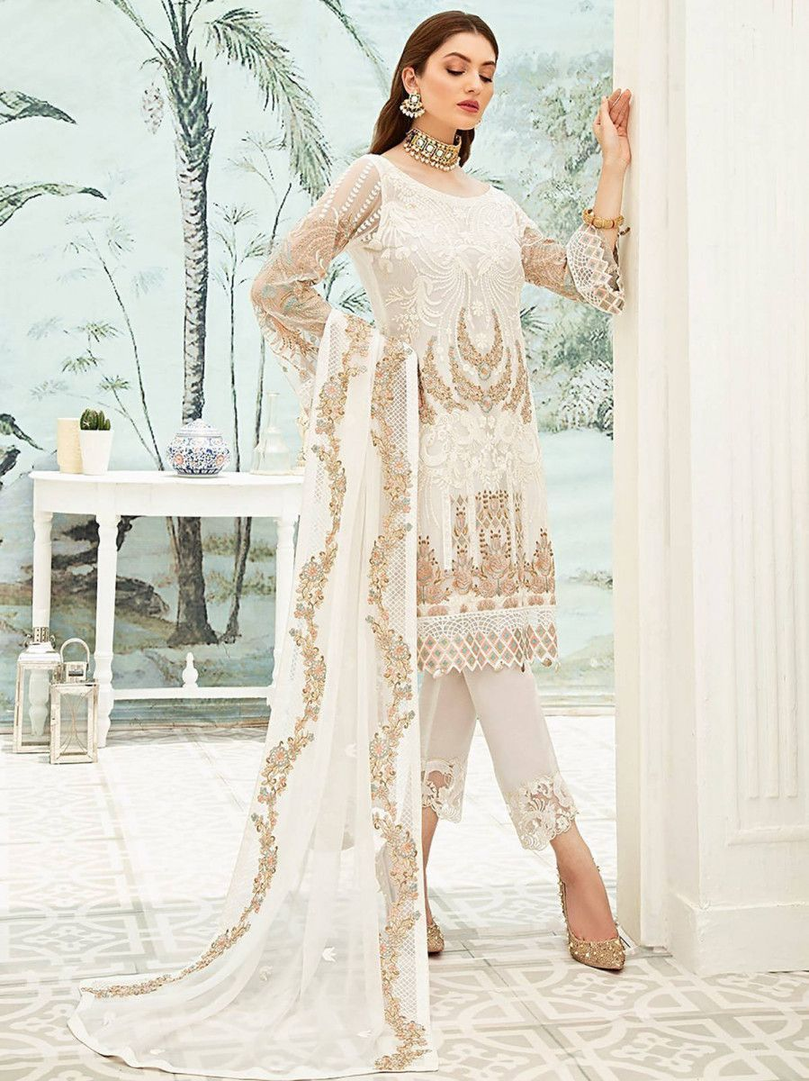 White Embroidered Georgette Festive Pakistani Straight Suit