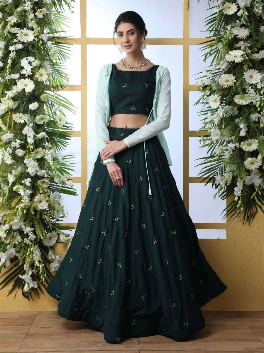 Bottle Green Embroidered Maslin Cotton Indo-Western Lehenga with Jacket