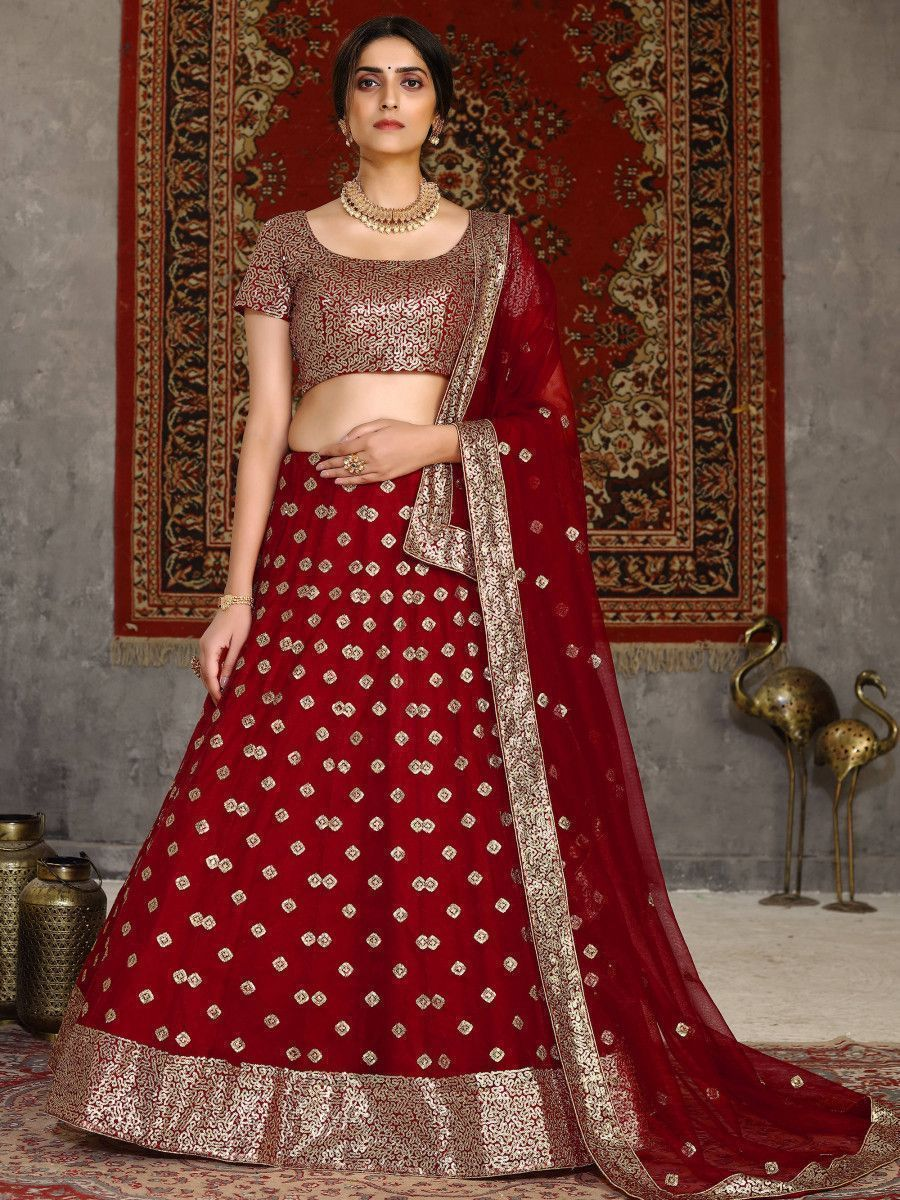 Red Sequined Net Party Wear Lehenga Choli