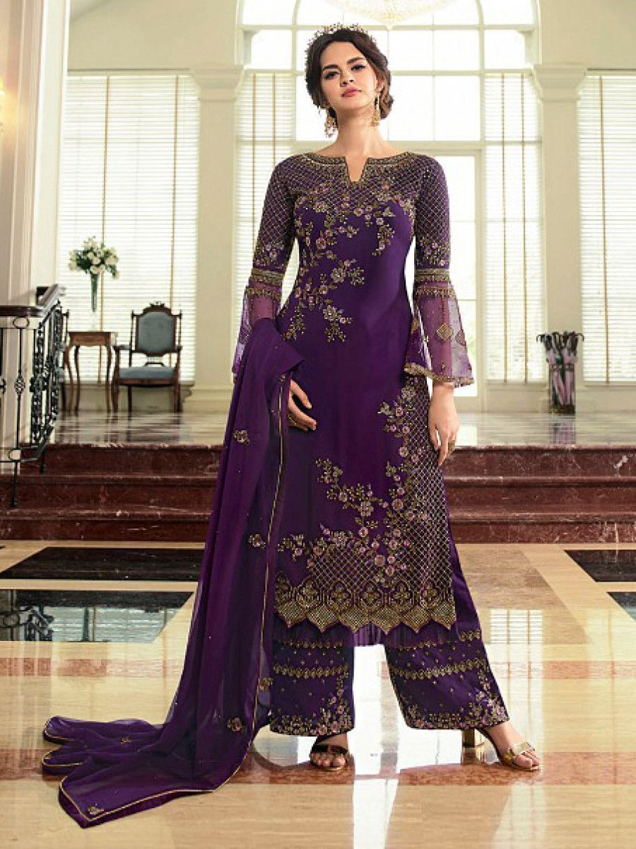 Wine Embroidered Georgette Festive Wear Palazzo Suit