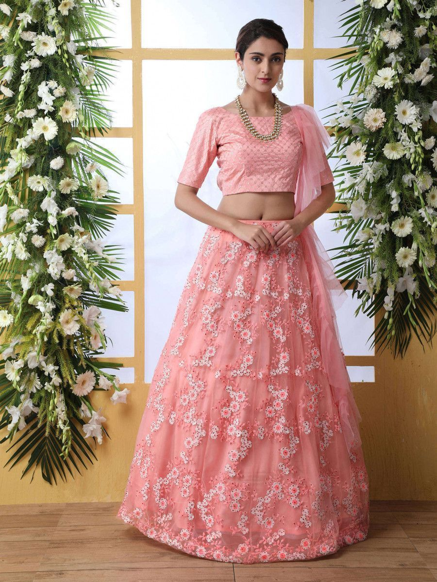 Pink Floral Embroidered Net Party Wear Lehenga Choli