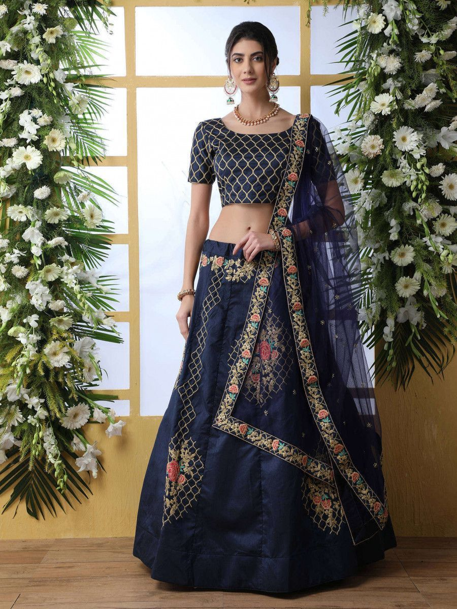 Navy Blue Coding Work Art Silk Party Wear Lehenga Choli