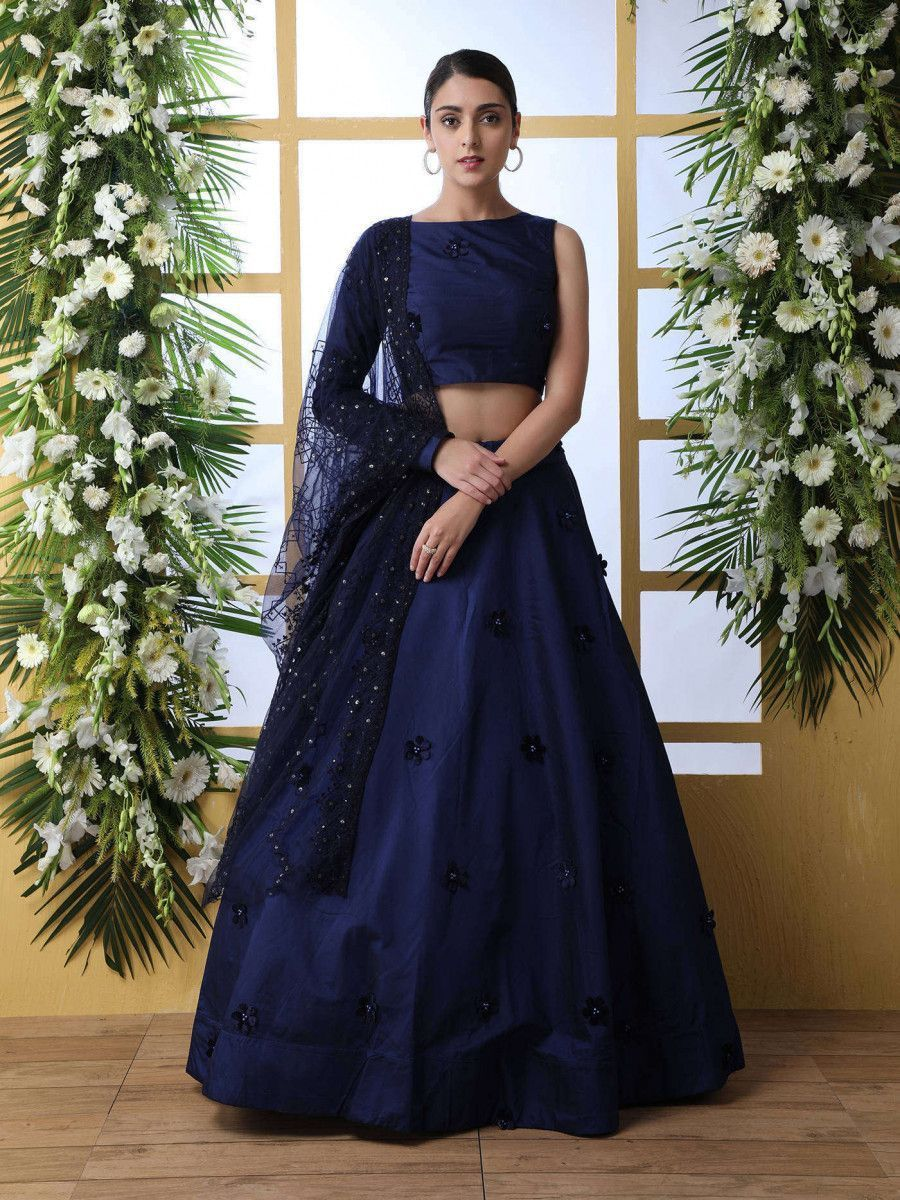 Navy Blue Imported Flowered Designed Taffeta Party Wear Lehenga Choli