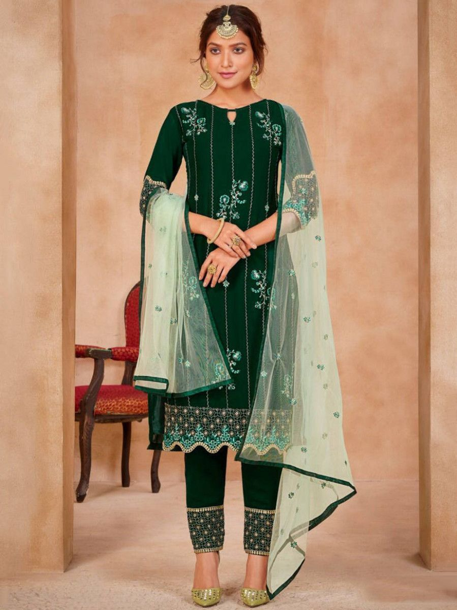 Bottle Green Embroidered Georgette Festive Straight Pant Suit