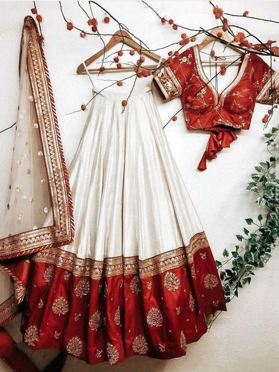 Red and White Embroidered Taffeta Silk Wedding Wear Lehenga Choli