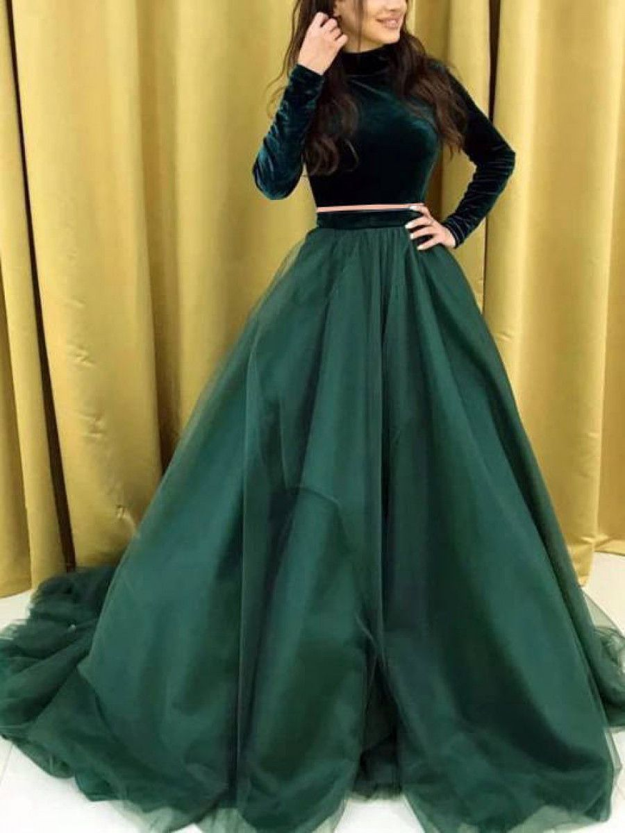 Green Designer Net Lehenga With Velvet Crop Top