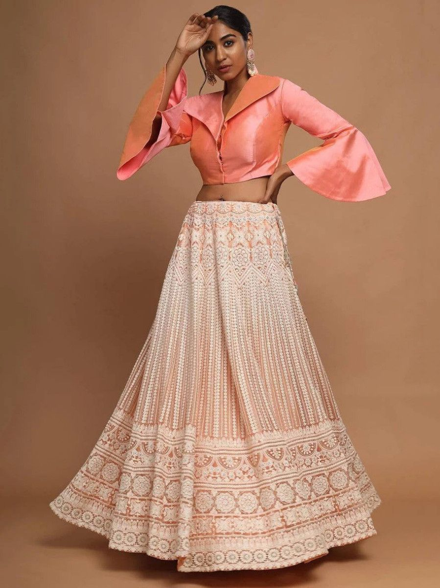 Peach Lucknowi Work Net Party Wear Readymade Lehenga With Crop Top