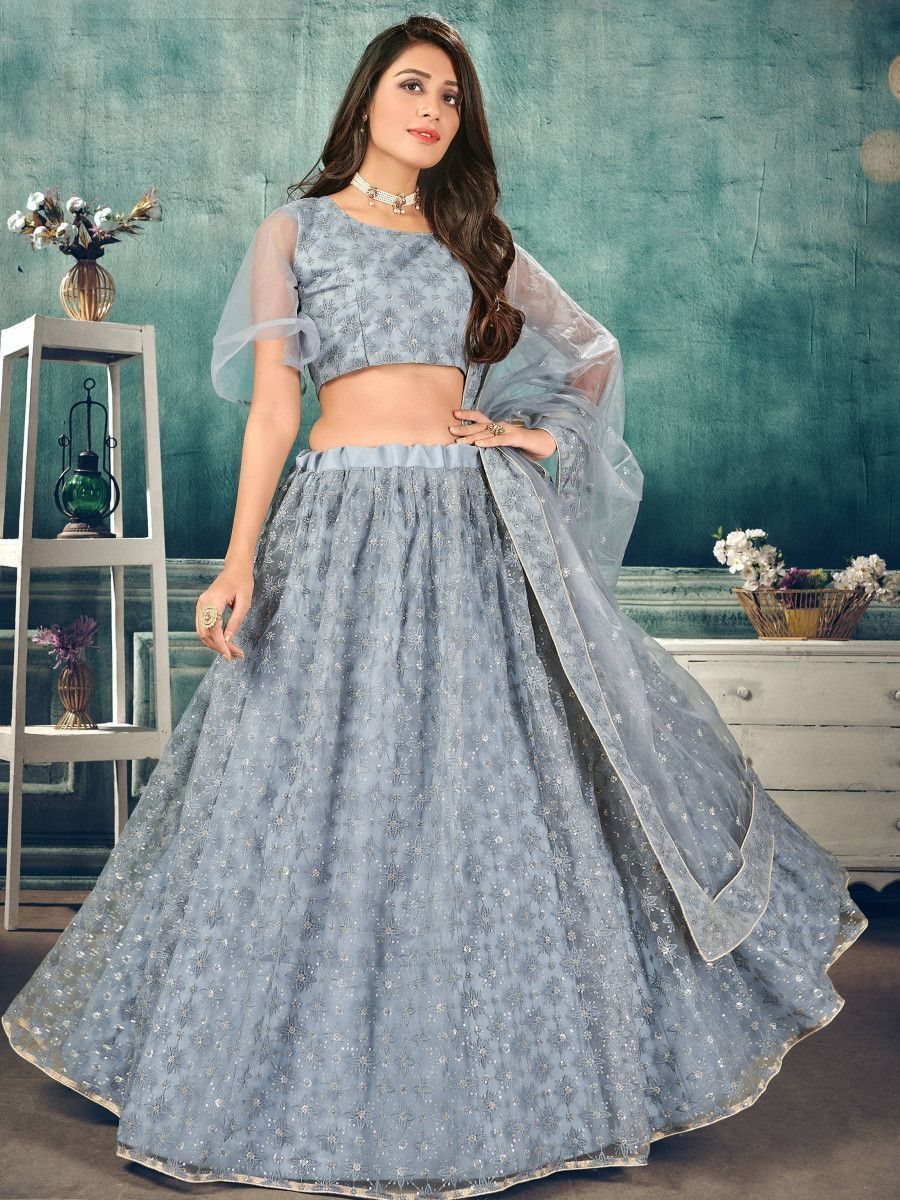 Grey Sequins Thread Net Party Wear Lehenga Choli