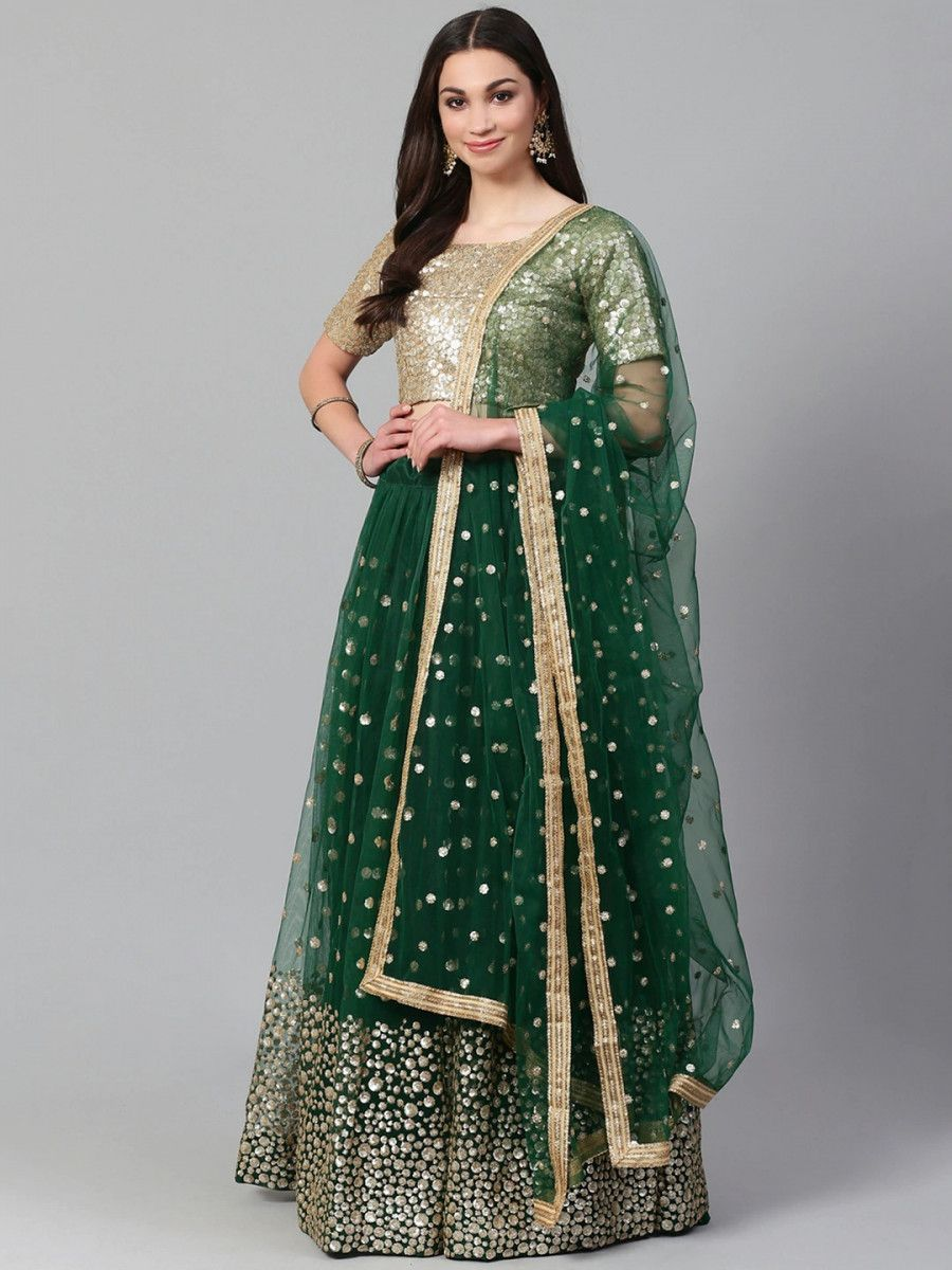 Green & Golden Semi-Stitched Myntra Festive Lehenga & Unstitched Blouse with Dupatta
