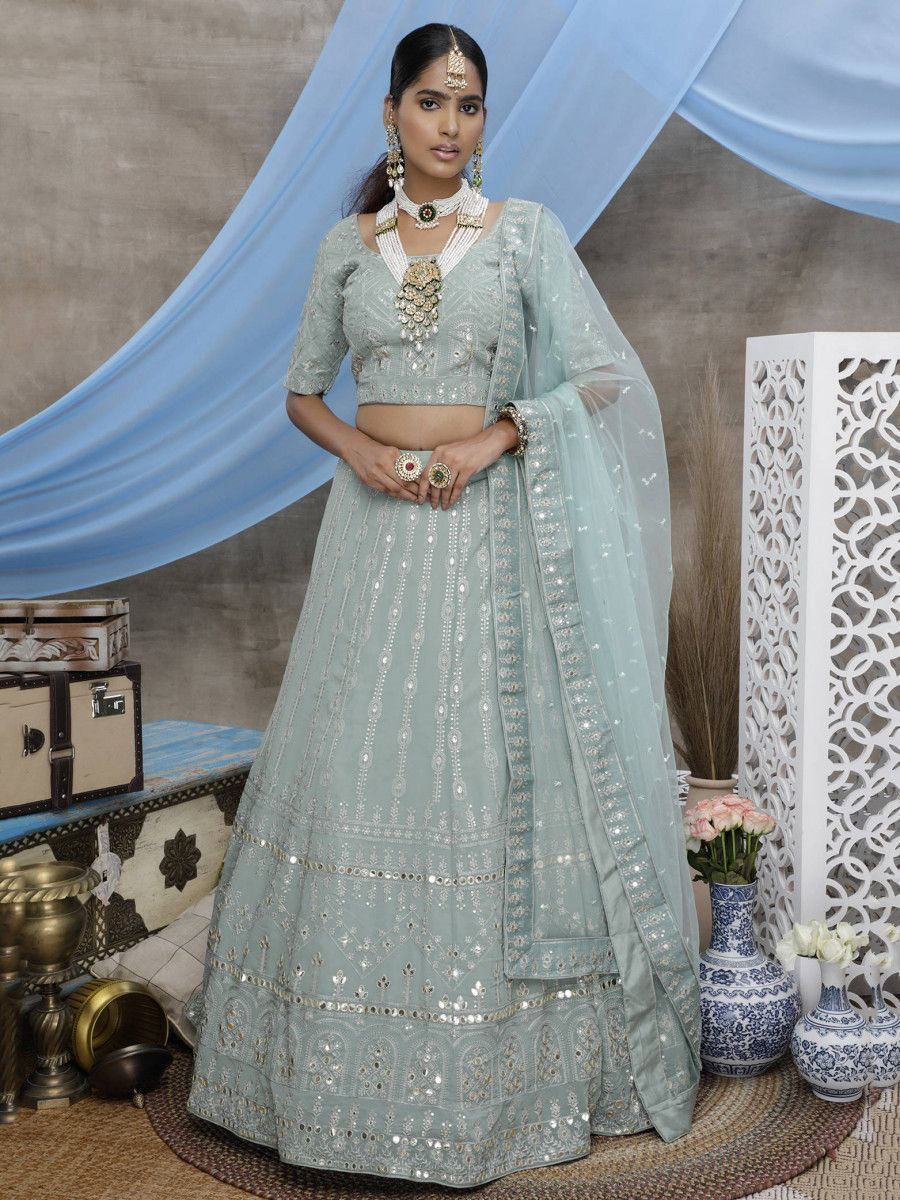 Dusty Green Gota Patti Work Georgette Wedding Wear Lehenga Choli