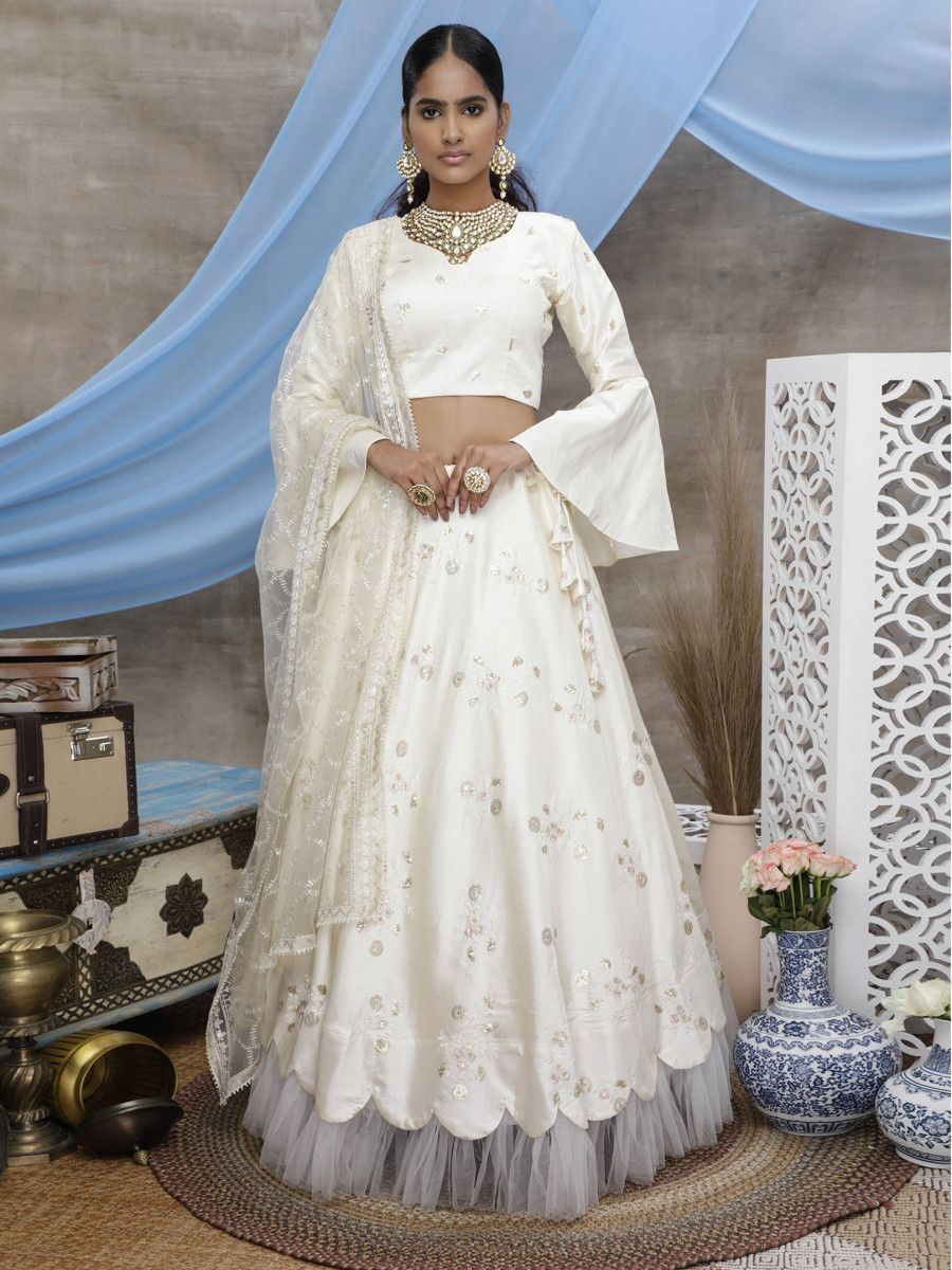 Pearl White Gota Patti Art Silk Wedding Wear Lehenga Choli