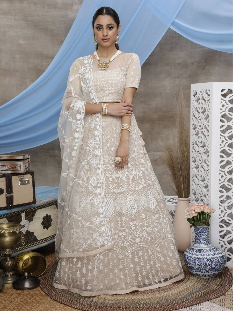 Beige Thread Sequins Net Wedding Wear Lehenga Choli