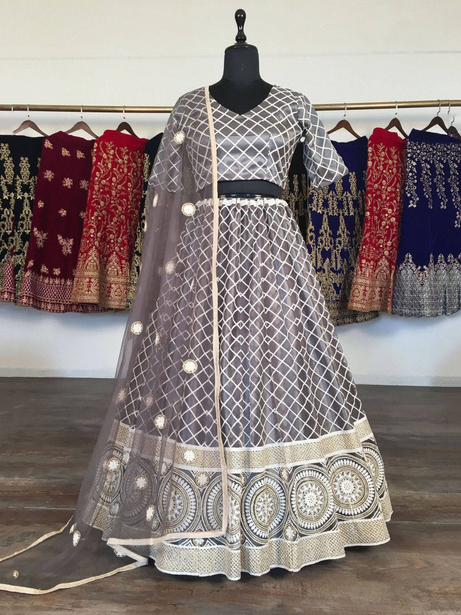 Grey Checks Lucknowi Net Wedding Wear Lehenga Choli