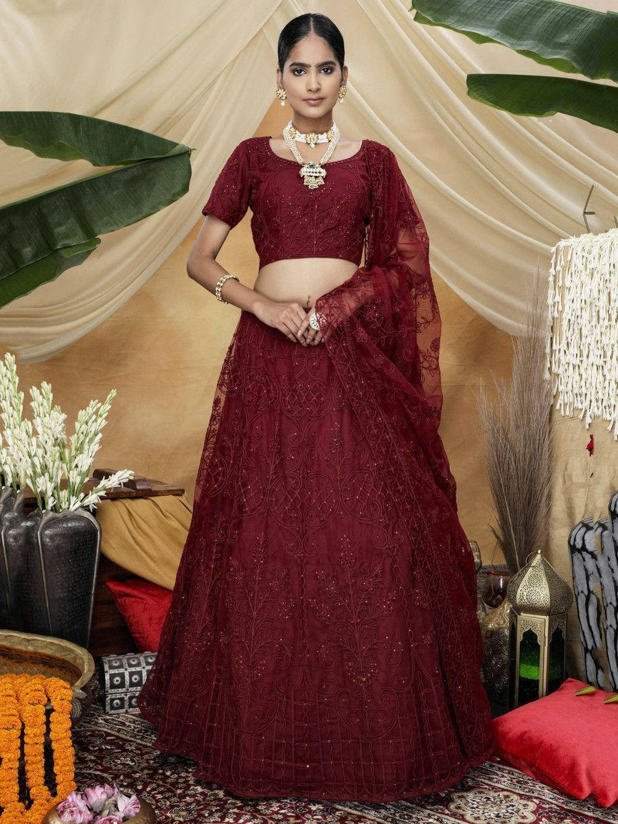 Red  Thread Worked Net Bridal Wear Lehenga Choli