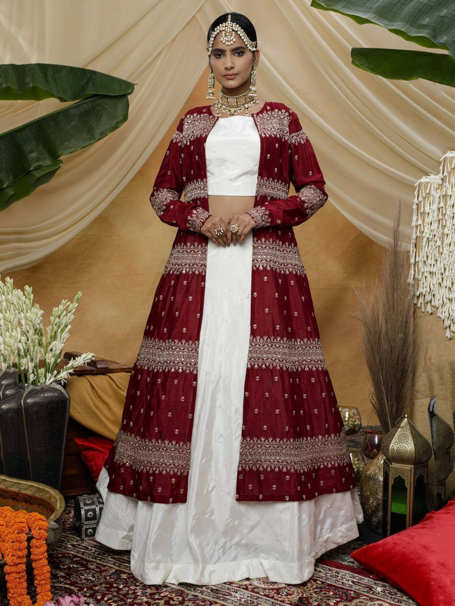 White Embroidered Chinon Festive Lehenga Choli With Maroon Jacket