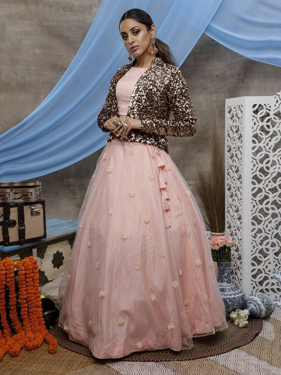 Peach Net Party Wear Lehenga Choli With Sequin Jacket