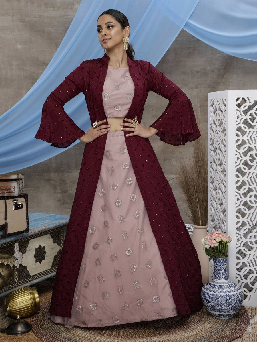 Dusty Pink Sequins Net Indo Western Lehenga Choli With Maroon Jacket