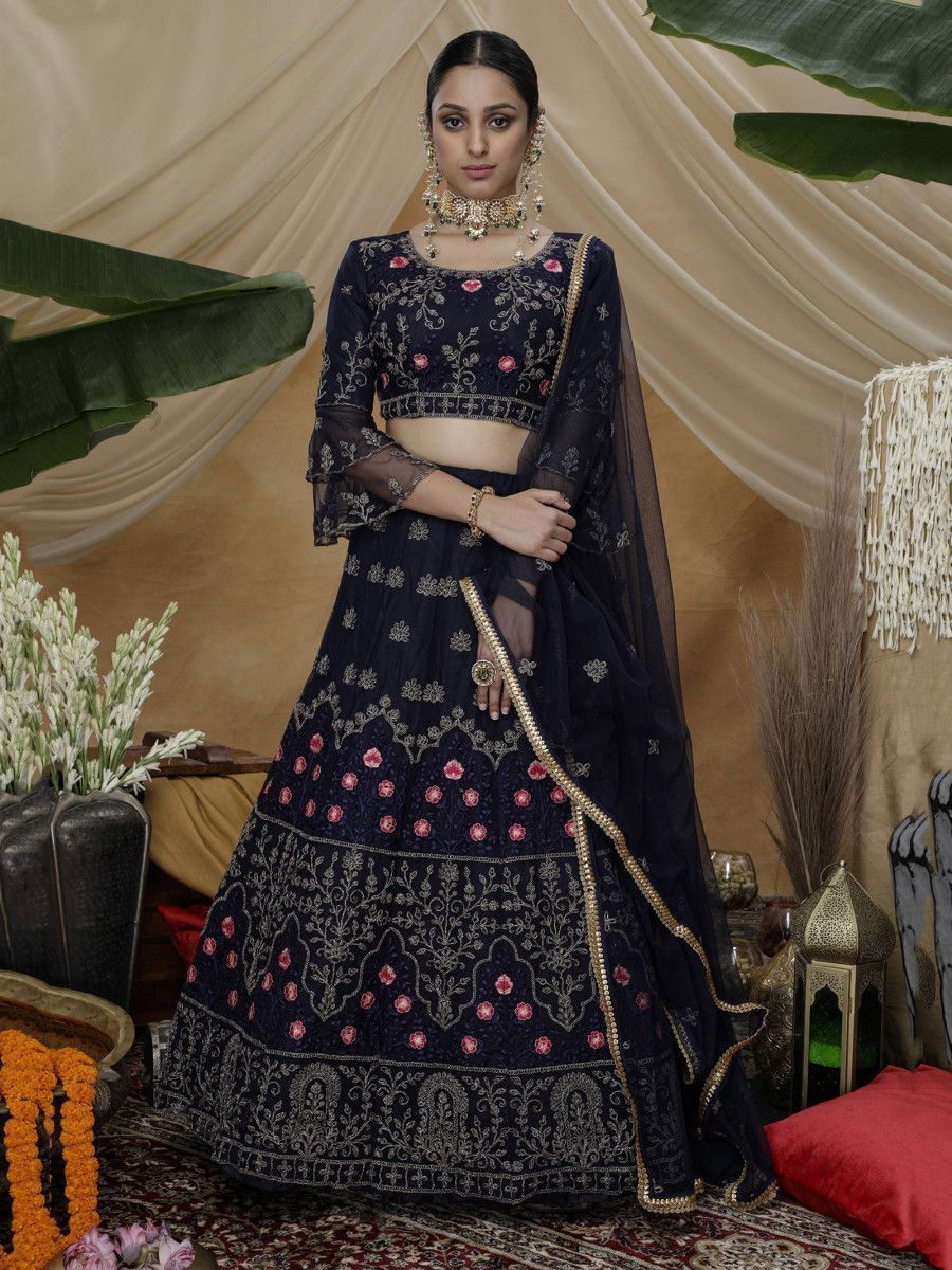 Navy Blue Thread Worked Net Wedding Wear Lehenga Choli