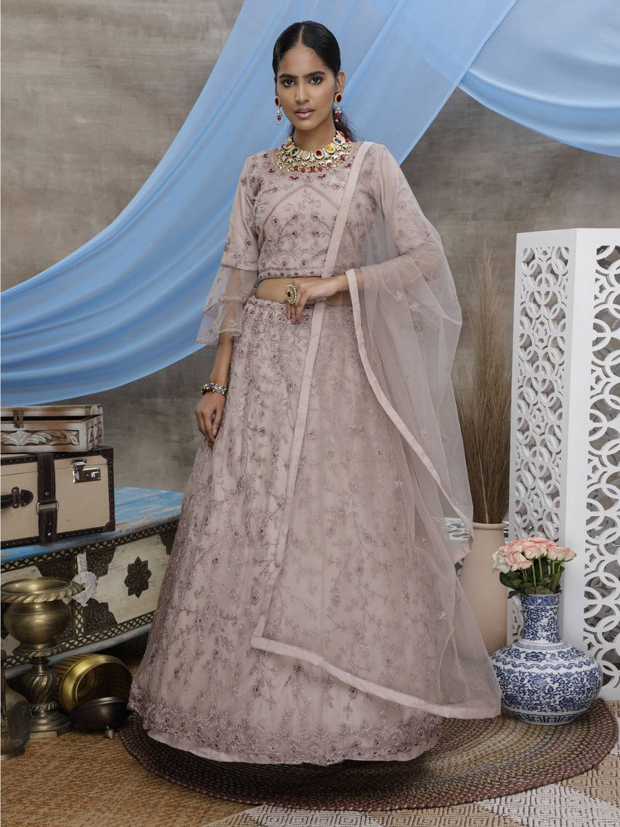 Dusty Purple Thread Worked Net Wedding Wear Lehenga Choli
