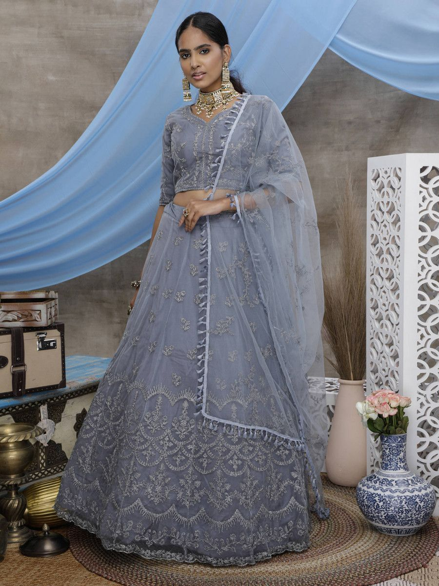 Grey Coding Thread Worked Net Wedding Wear Lehenga Choli