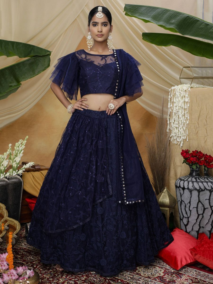 Navy Blue Thread Sequins Net Party Wear Lehenga Choli