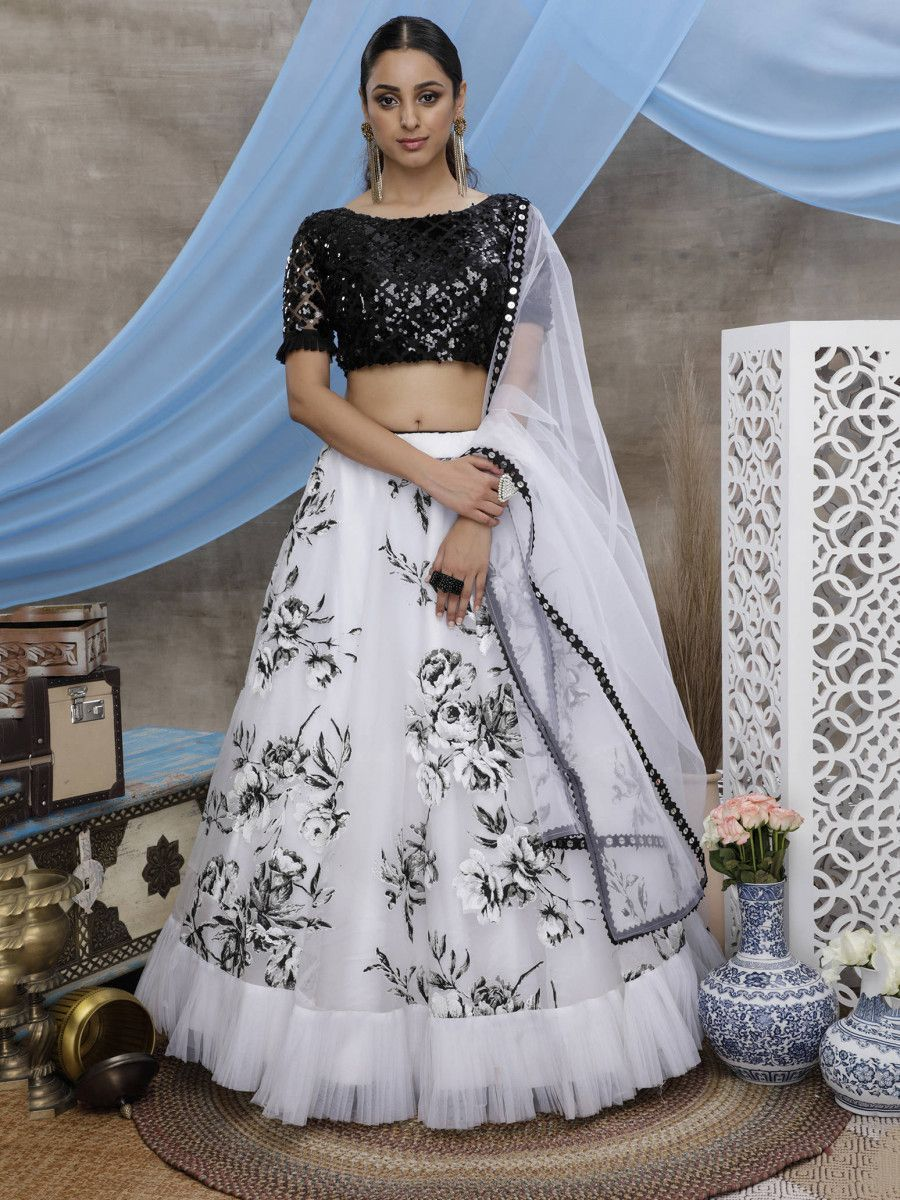 Black and White Ruffle Organza Party Wear Lehenga Choli