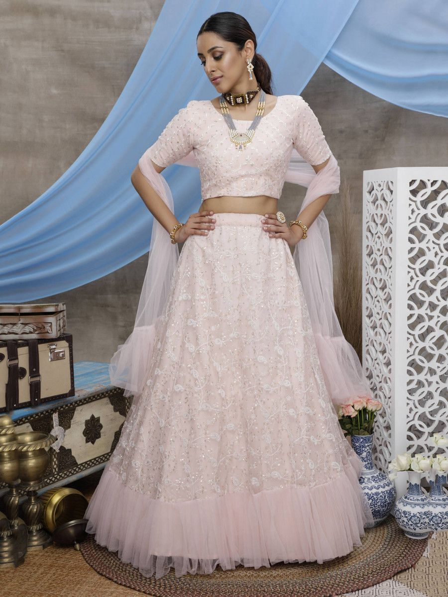 Peach Thread Ruffle Net Party Wear Lehenga Choli