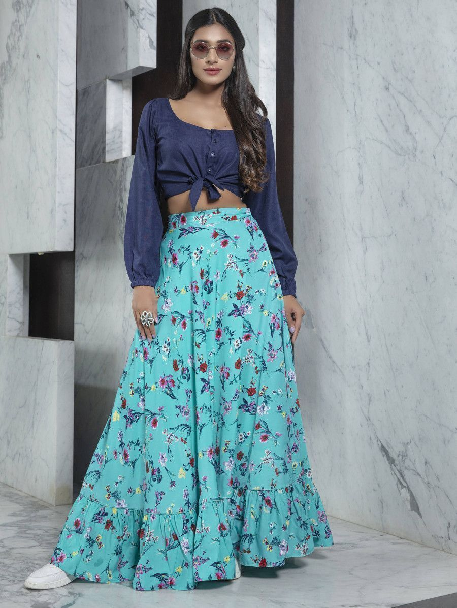 Readymade Blue Printed Crepe Indo Western Skirt With Shirt Crop-Top