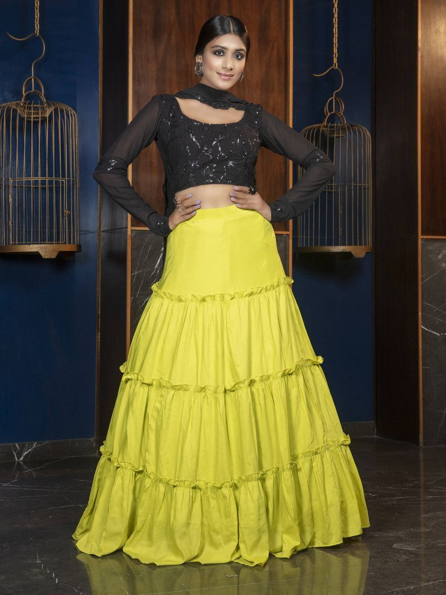 Green & Black Thread Embroidered Maslin Party Wear Lehenga Choli