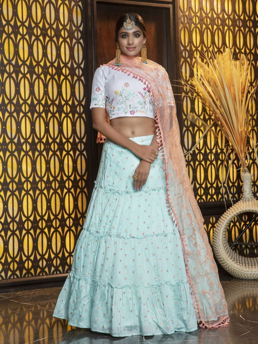 Sky Blue Embroidery Flaired Festival Wear Lehenga With White Choli