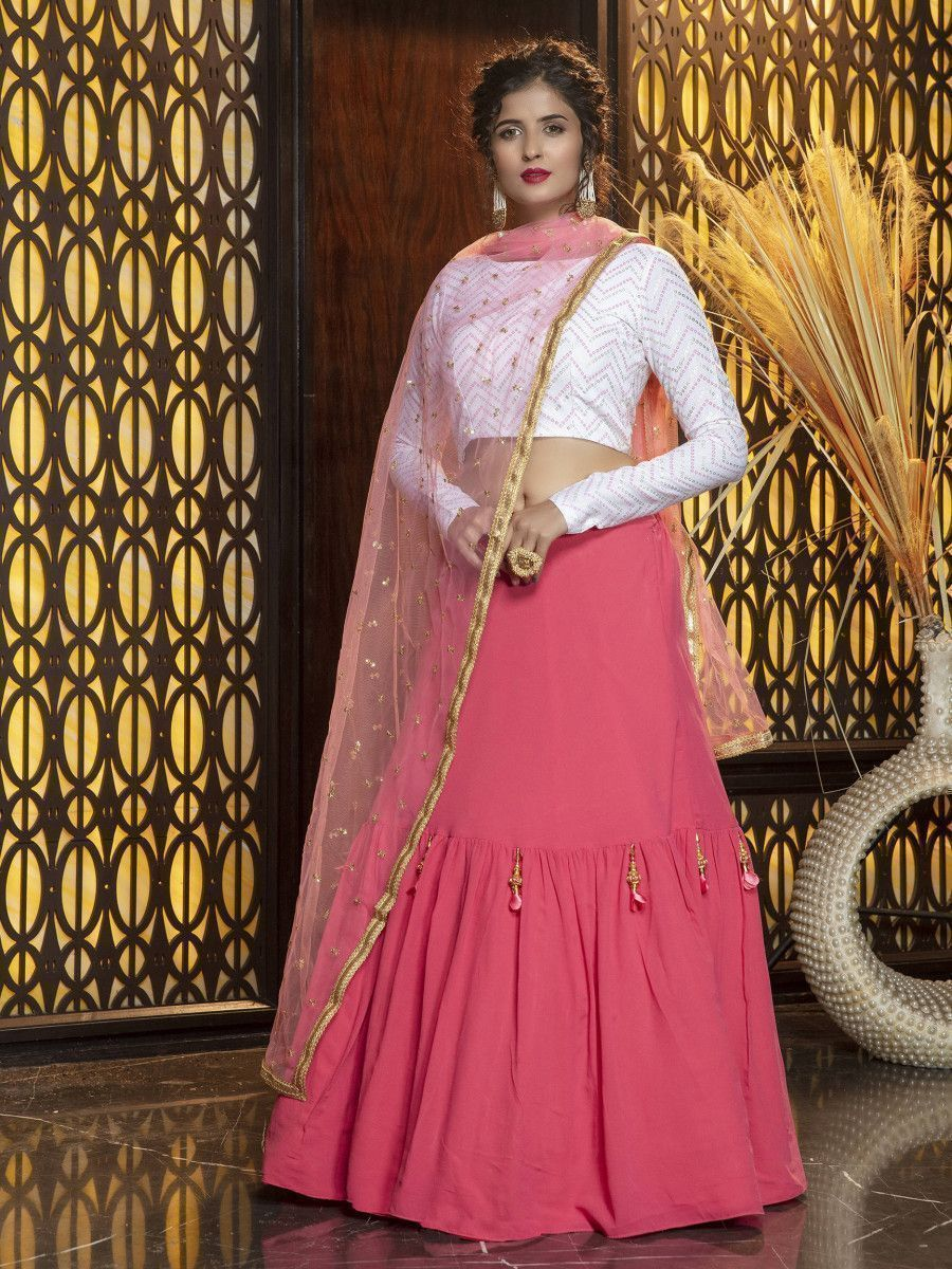 Pink Frilled Georgette Party Wear Lehenga With White Choli