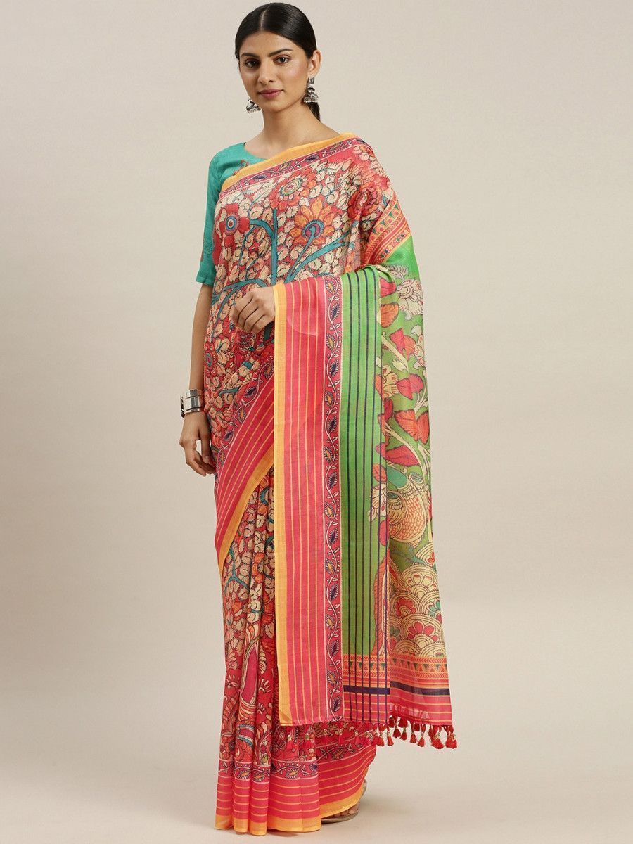 Multicoloured Linen Blend Printed Block Print Myntra Saree