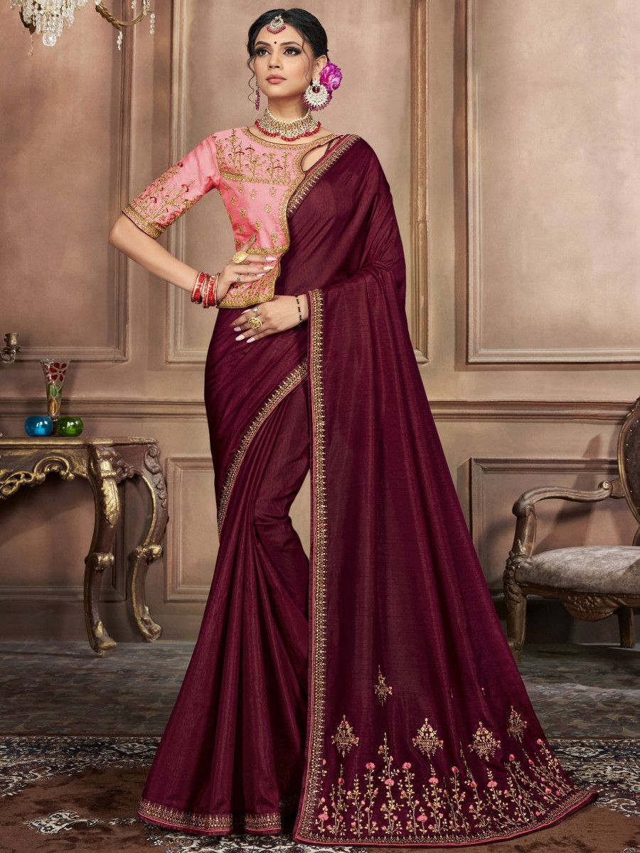 Wine Embroidered Silk Wedding Wear Saree With Blouse