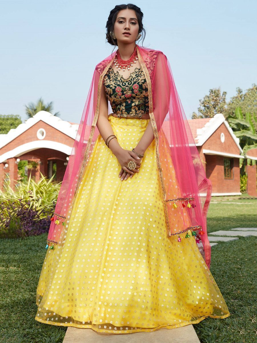Yellow Foil Work Net Wedding Wear Lehenga Choli