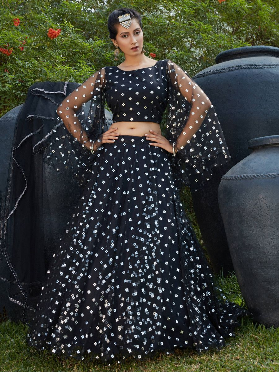 Black Fully Foil Work Net Party Wear Lehenga Choli
