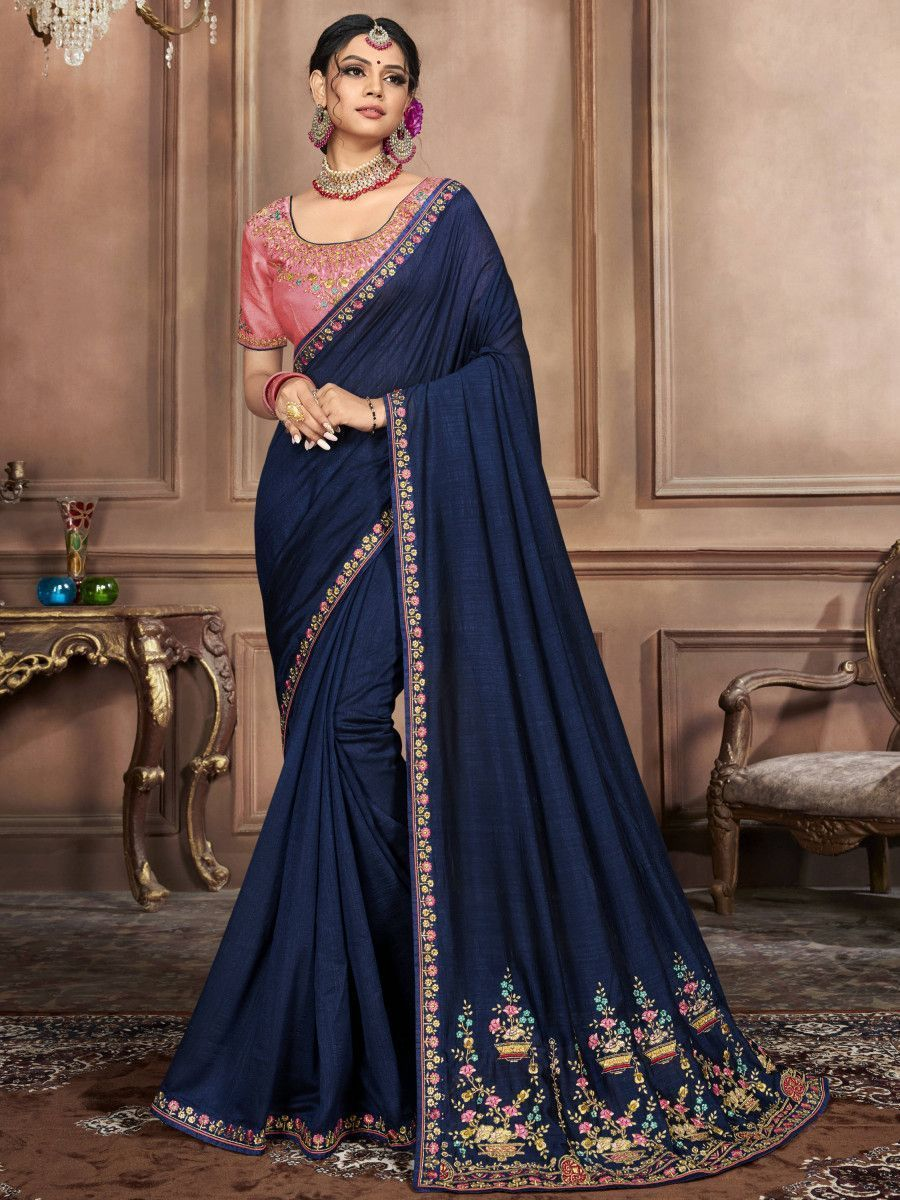 Navy Blue Embroidered Silk Wedding Wear Saree With Blouse
