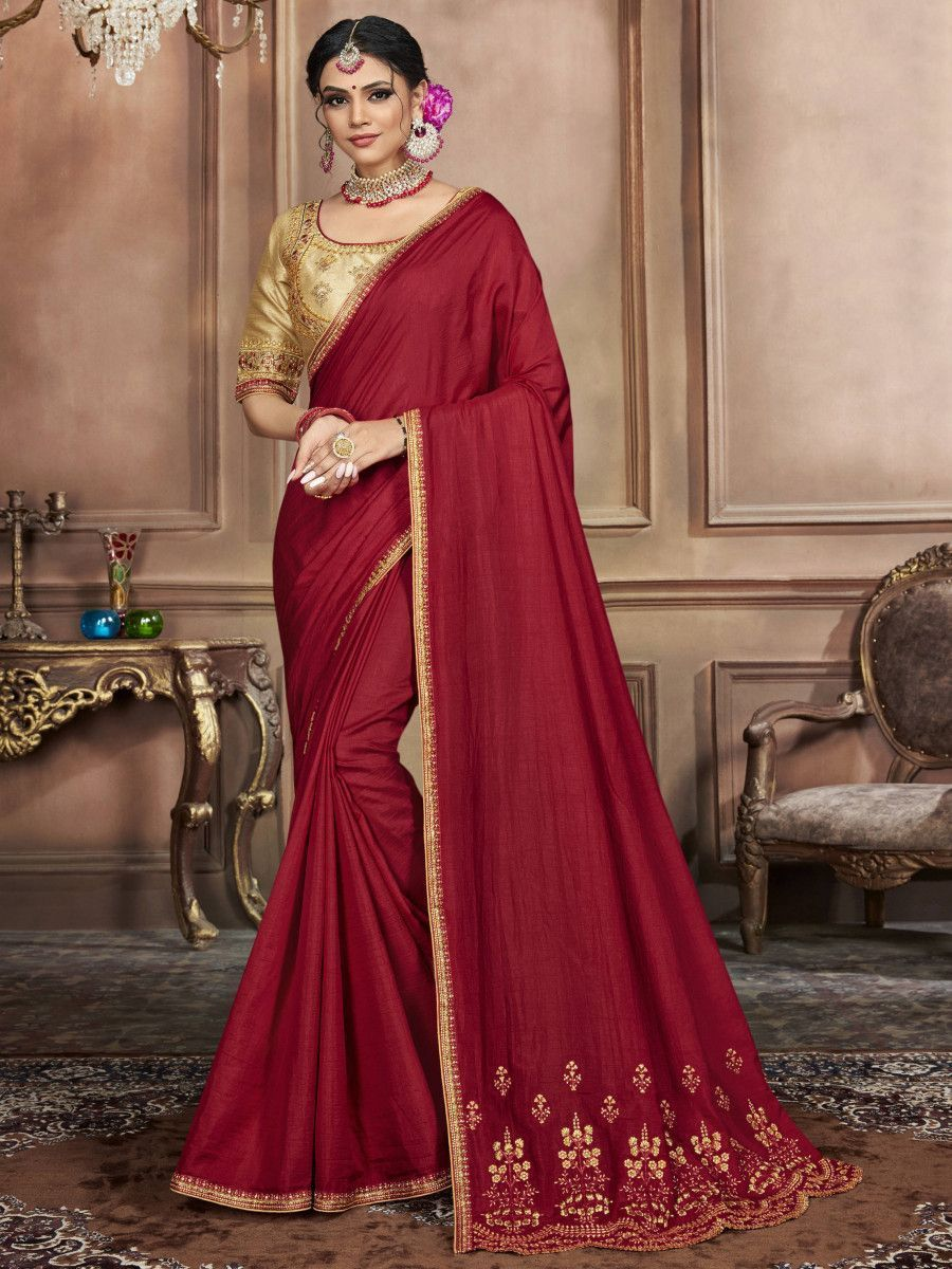 Maroon Embroidered Silk Wedding Wear Saree With Blouse