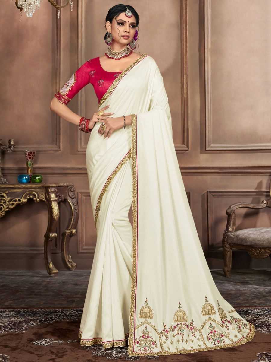 Off White Embroidered Silk Wedding Wear Saree With Blouse