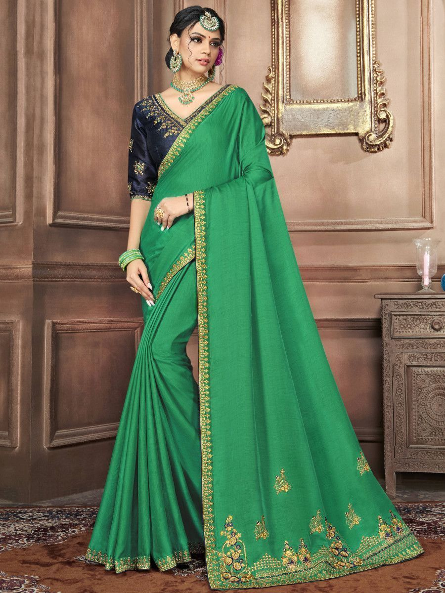 Green & Blue Embroidered Silk Wedding Wear Saree With Blouse