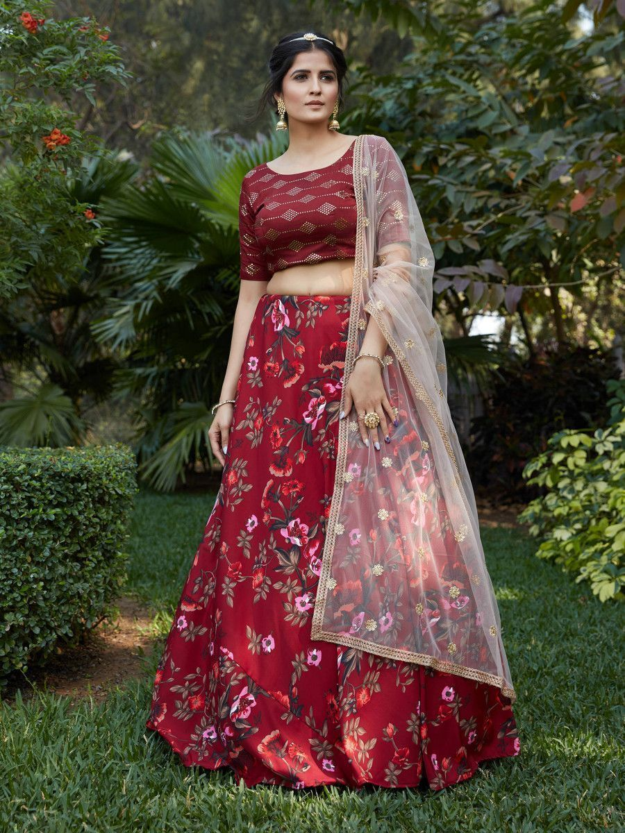 Maroon Floral Crepe Party Wear Lehenga Choli With Dupatta
