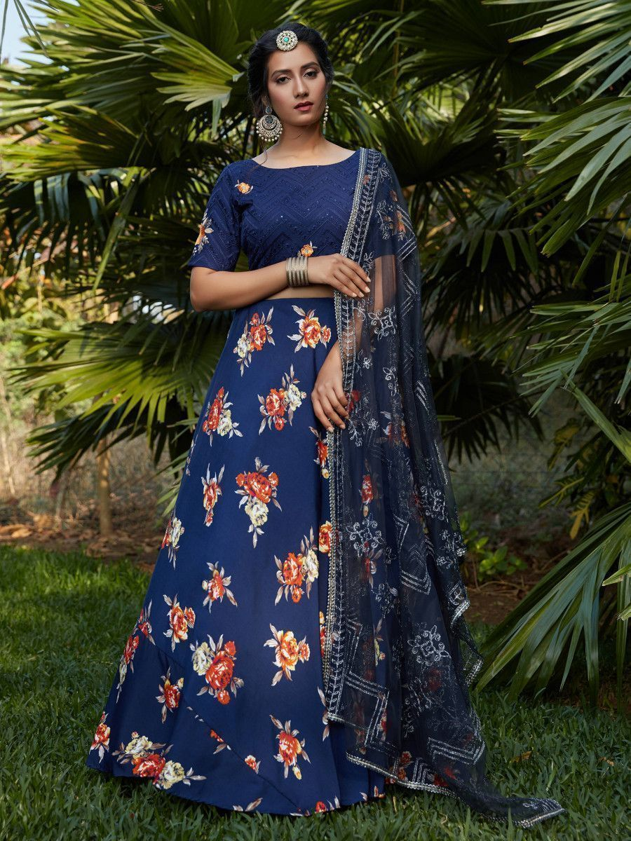 Navy Blue Floral Crepe Party Wear Lehenga Choli With Dupatta