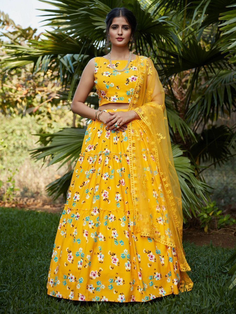 Yellow Printed Crepe Party Wear Lehenga Choli With Dupatta