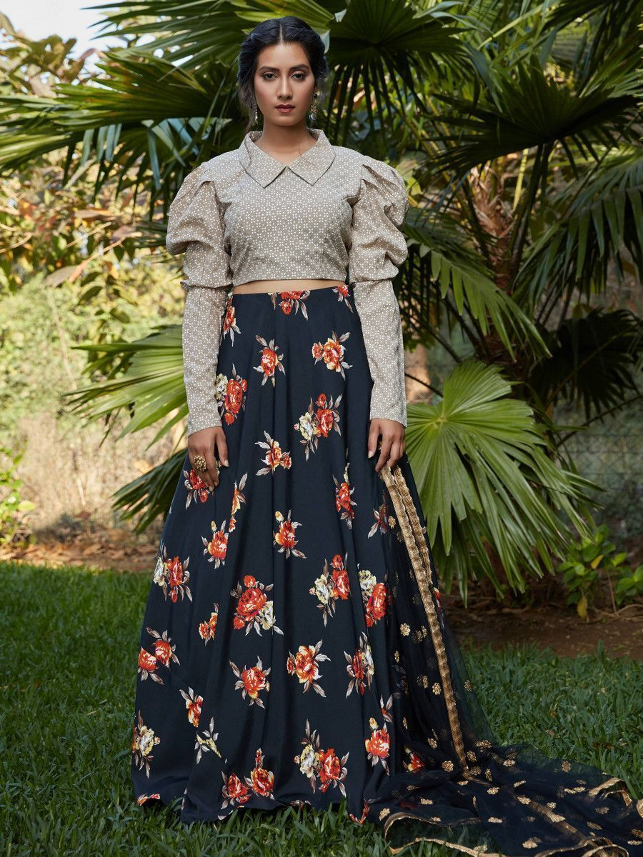 Navy Blue Printed Crepe Party Wear Lehenga Choli With Dupatta