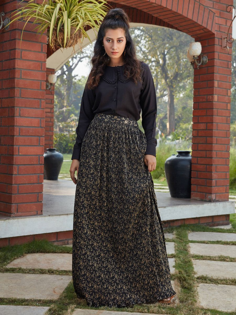 Black Printed Imported Indo Western Ready To Wear Skirt With Crop Top