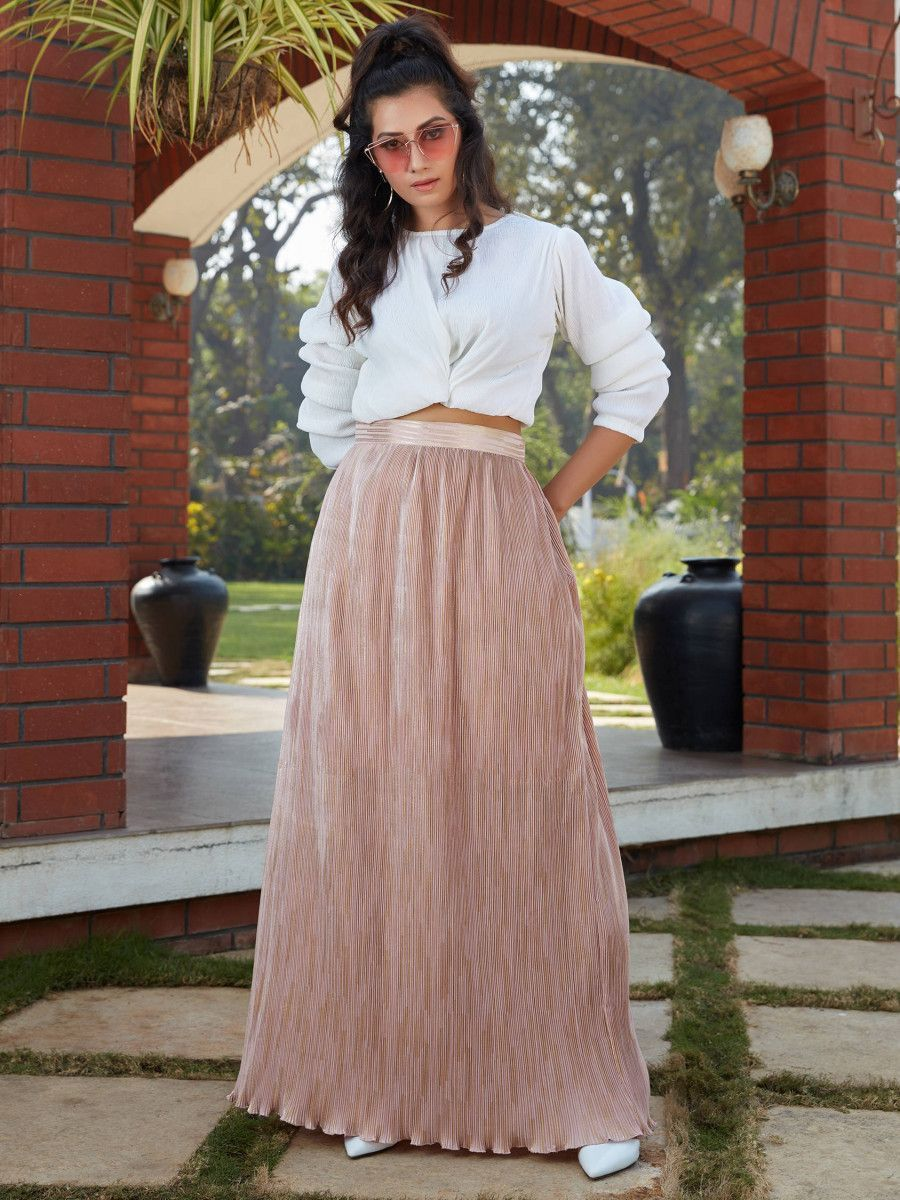 White-Peach Imported Indo Western Ready To Wear Skirt With Crop Top