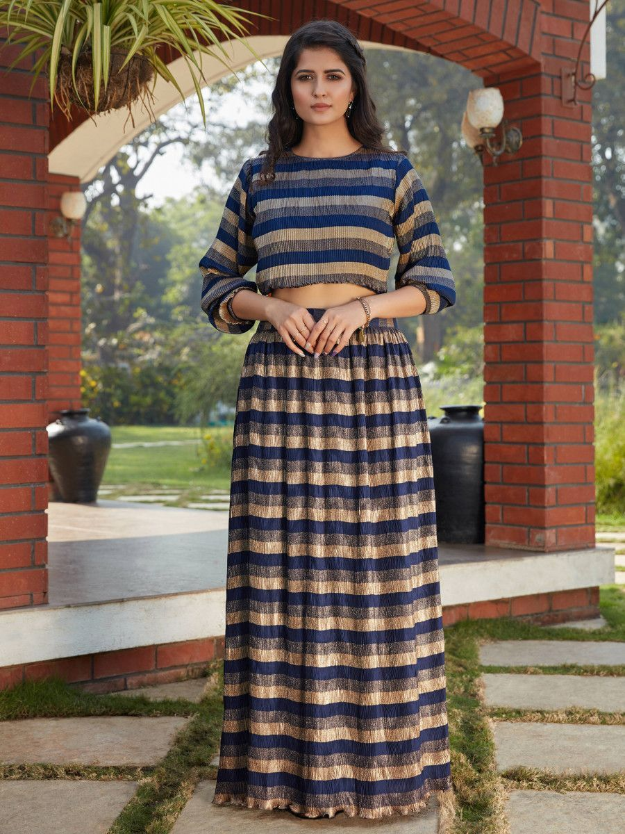 Navy Blue Imported Indo Western Ready To Wear Skirt With Crop Top